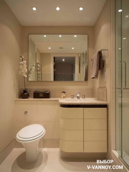 Зеркало и стеклянная перегородка душевой формируют визуальный эффект легкости.