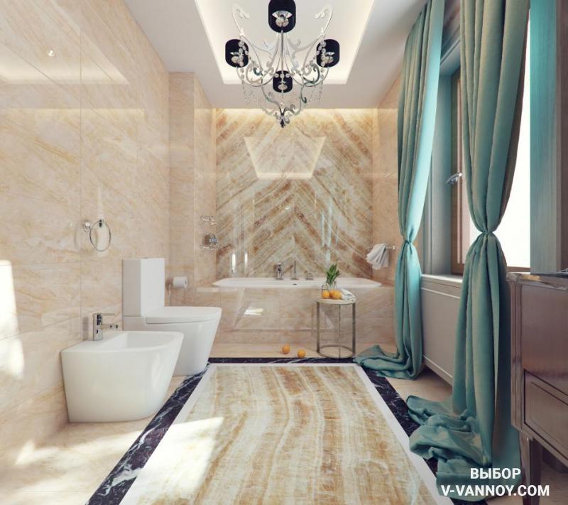 Неоклассика в пространстве ванной комнаты, объединенной с туалетом. Плавные переходы цвета и натуральная палитра оттенков характерны для данного стиля.