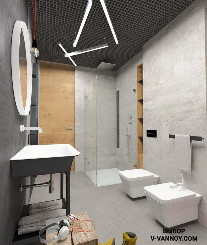Современный стиль интерьера объединенного санузла. Характерные параметры: строгие линии, лаконичные формы в предметах мебели и сантехники