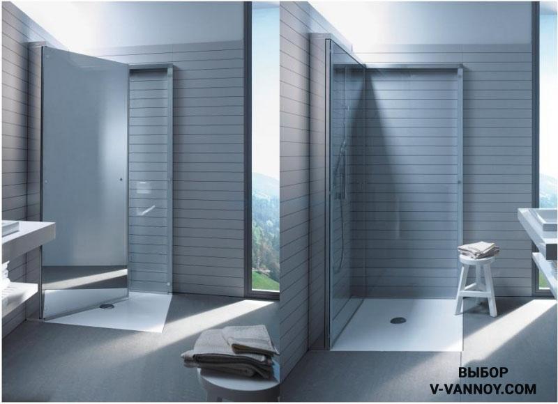Душевая кабина-трансформер складывается и почти не занимает пространство комнаты. Идеальный вариант для наполнения маленького помещения.