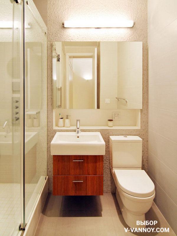 Вместительная тумба под раковиной в ванной комнате 3 кв. м.