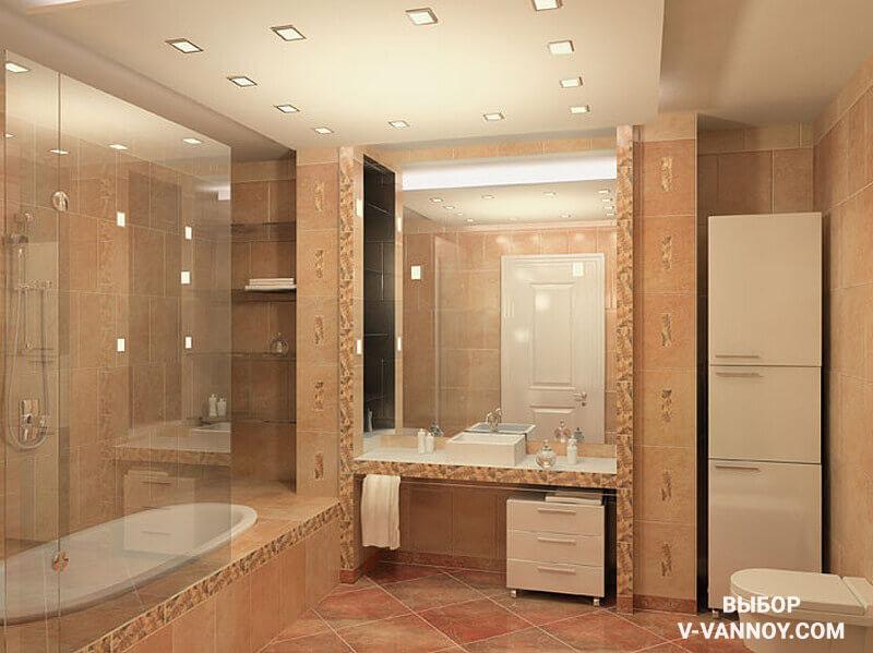 Lleida Marron в интерьере ванной комнаты.