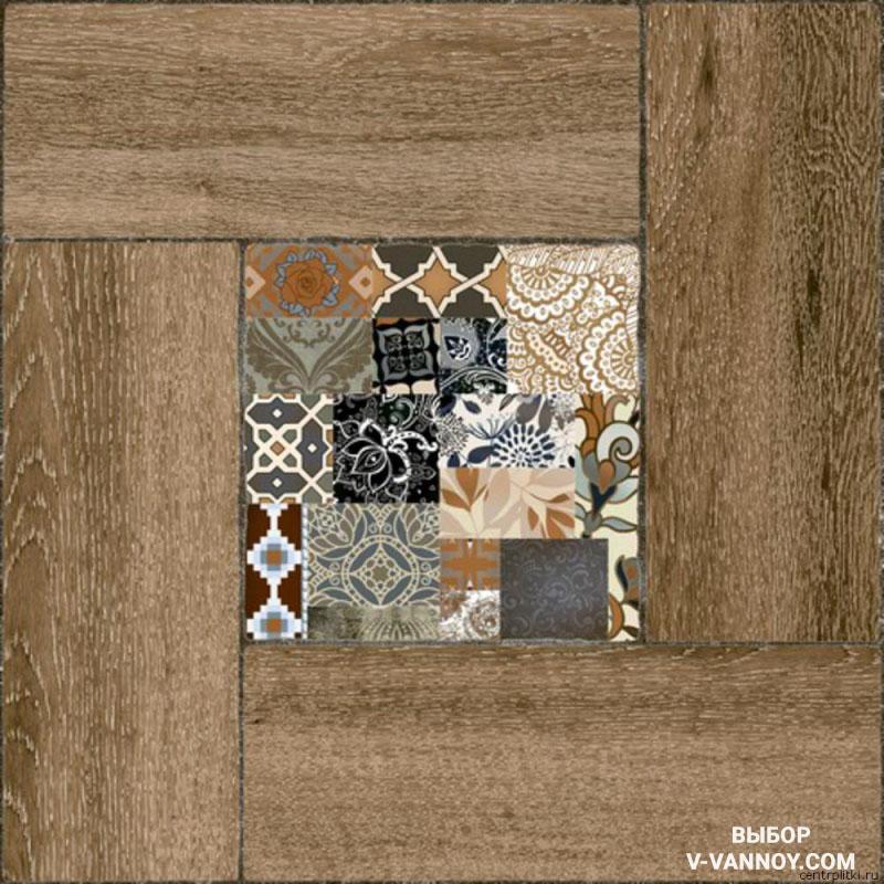 Керамика с деревянной текстурой Ранчо (418х418). Уралкерамика (Россия).