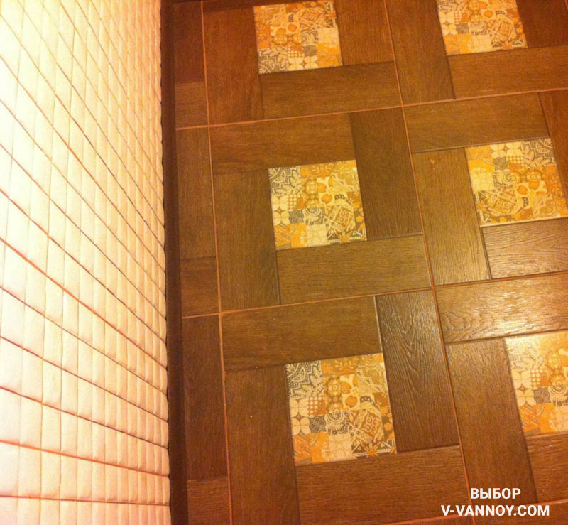 Реальное фото кафеля Ранчо после укладки в ванной комнате.