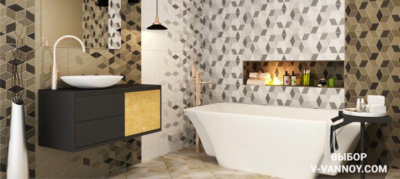 Геометричный рисунок керамической плитки «Тренд» идеально подходит для современного стиля. Ассортимент кафеля от Керамин постоянно расширяется, компания поддерживает мировые тенденции и популярные направления интерьерной моды.