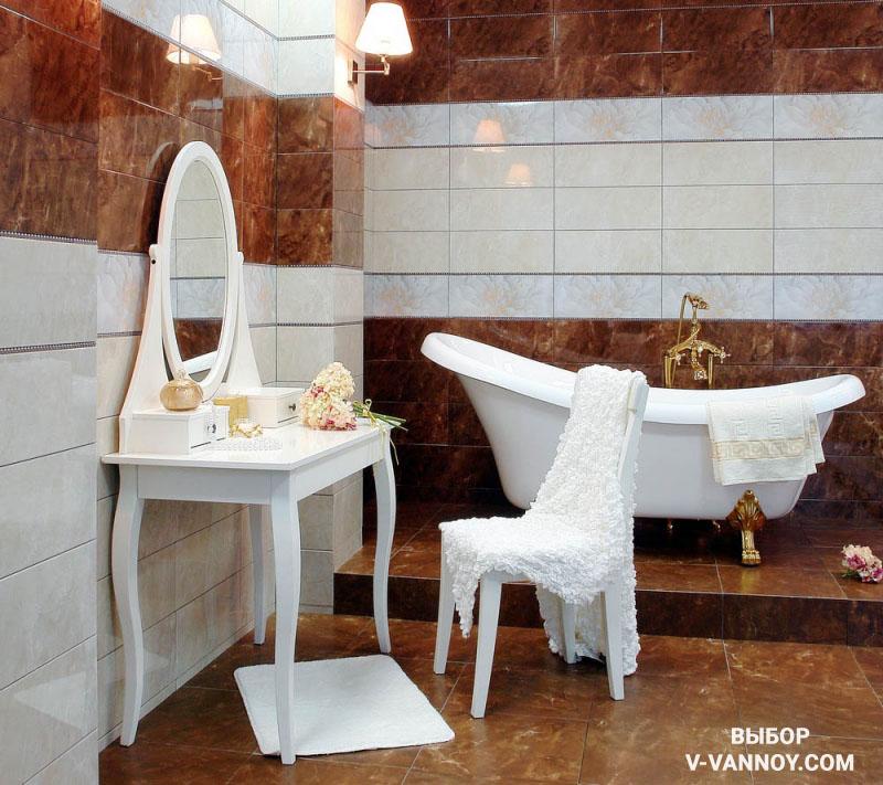 Экологичное направление в ванной комнате. Фотография реализованного объекта с кафелем серии «Сиерра». Природная гамма актуальна в современном дизайне интерьера. Элементы данной коллекции представлены в различных форматах и расцветках (фоновые и декоративные элементы, мозаика).