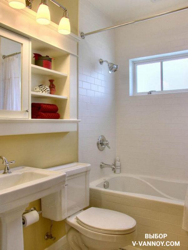 Дизайн ванной в пастельных оттенках. Кладка кафеля вразбежку.