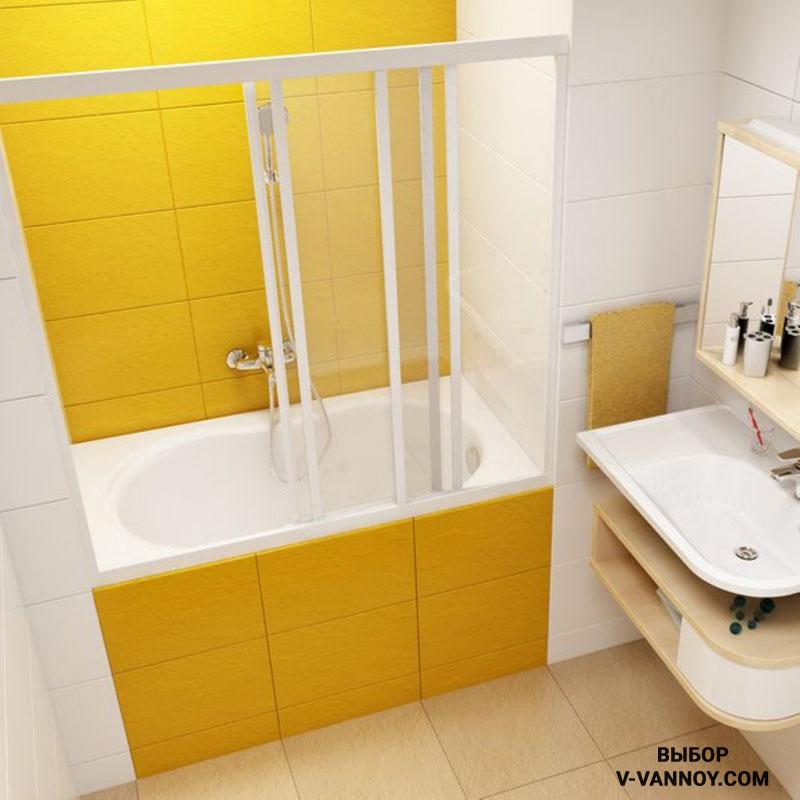Сидячая ванна выполнена из акрила, имеется защитная перегородка из стекла. Сочетание желтого и белого цвета в отделке. Размеры изделия: 1200х700.