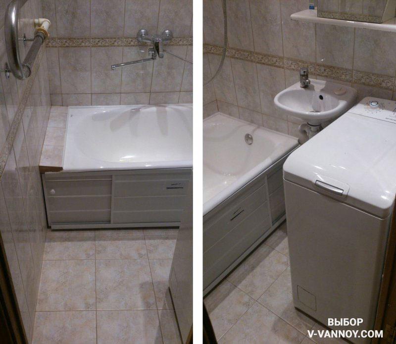 Вертикальная загрузка белья экономит место в помещении, а пластиковый экран закрывает пространство под ванной, образуя дополнительную зону хранения.