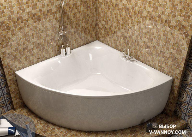 Iryda 1500х1500 (Vayer, Швейцария). Габариты: высота – 630 мм, глубина – 480 мм. Объем: 500 л. Материал: 100% литьевой акрил.