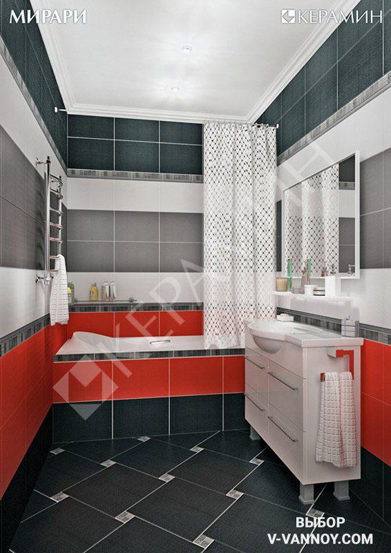 Современный интерьер санузла с кафелем серии «Мирари» (Керамин). Диагонально-модульная раскладка элементов на полу позволяет визуально увеличить небольшую комнату.