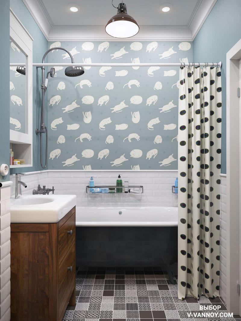 Скандинавский интерьер санузла в квартире-студии. В помещении керамику использовали в качестве напольного покрытия и для стен (до определенного уровня по высоте). На полу – метлахский узор, стены облицованы плиткой «кабанчик».