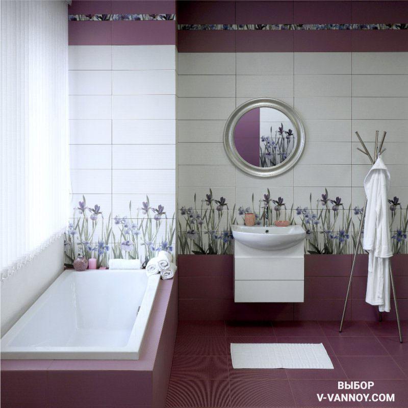 Ирис (Керамин). Кафель с матовой поверхностью дополнен цветочным декором, который формируют легкое настроение в помещении. Поверхность имеет рельеф, поэтому отделка визуально добавляет объем в комнате, а пол не скользит в процессе эксплуатации.