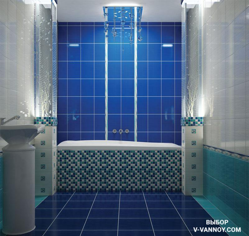 Мозаичное панно украшает декоративный экран и два столба.