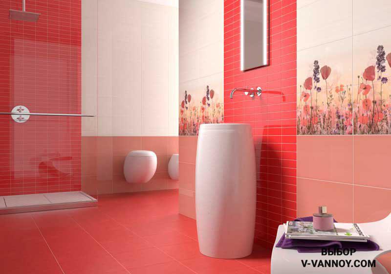 Приглушенный красный, пастельный, сливочный и цвет лаванды. Сочетание глянцевой и матовой керамики. Яркие сегменты уравновешены светлой плиткой крупного формата.