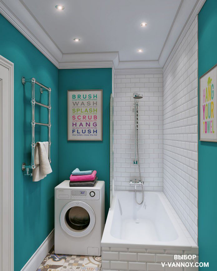 В маленьком помещении выбирайте для отделки один-два основных цвета, чтобы интерьер смотрелся едино.
