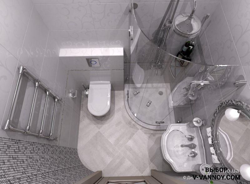 Стеклянный экран душевой кабины практически незаметен. Такой предмет не загромождает миниатюрную комнату, а радиальная форма способствует комфортной эксплуатации.