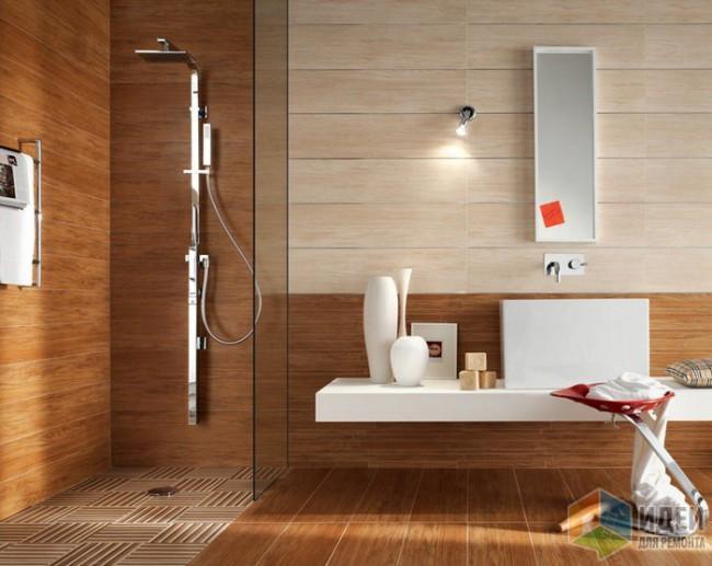 Водостойкий ламинат в ванной в каталоге Леруа Мерлен